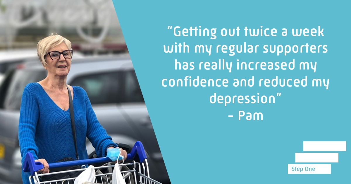 Pam pushing a shopping trolley at a supermarket - she now has the confidence to go out to shop for herself