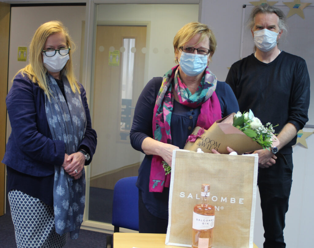 Lesley was presented with some gifts by Eilis Rainsford and Andrew Sheppard in celebration of her 20 year anniversary of working at Step One