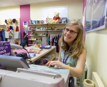 Hayley-on-the-till-at-Scope-charity-shop-Exeter